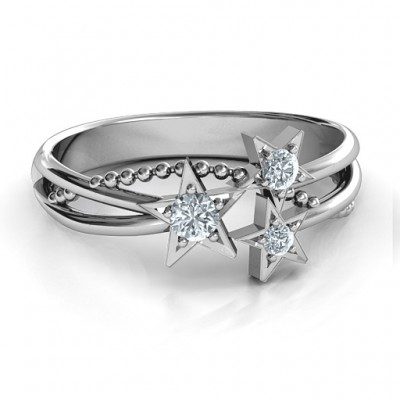 Twinkling Starlight Solid White Gold Ring