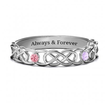 Two-Stone Interwoven Infinity Solid White Gold Ring