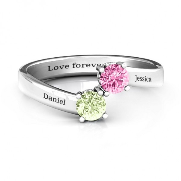 Two Stone Solid White Gold Ring With Filigree Settings