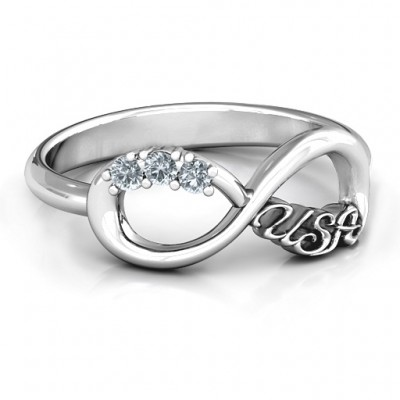 USA Infinity Solid White Gold Ring