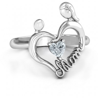 Unbreakable Bond Heart Solid White Gold Ring