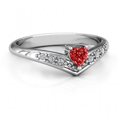 V-Accented Heart Solid White Gold Ring
