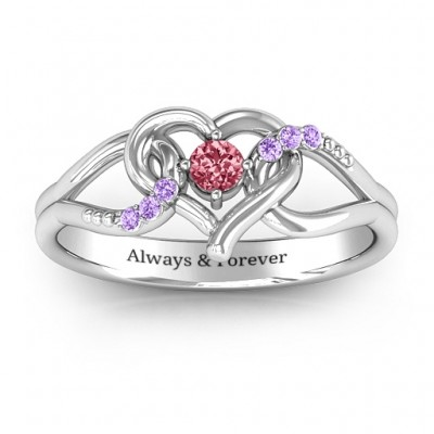 You Have My Heart Solid Gold White Ring with Accents