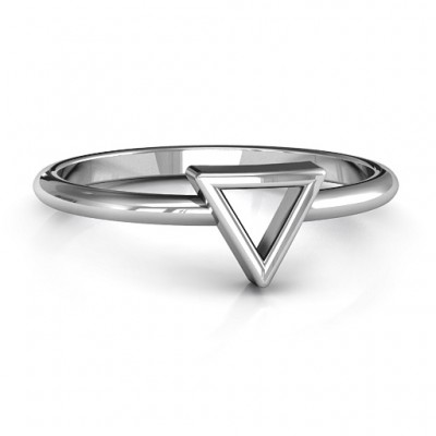 Your Best Triangle Solid White Gold Ring