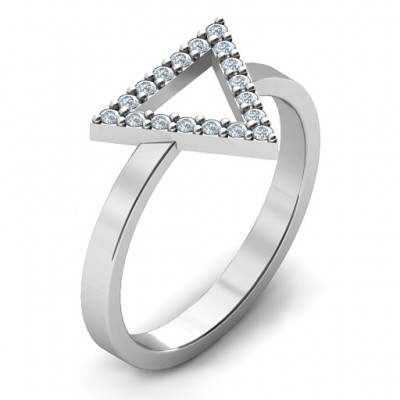 Your Best Triangle with Accents Solid White Gold Ring