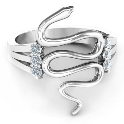 Zig Zag Snake Solid White Gold Ring