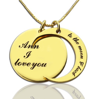 I Love You to The Moon and Back Love Necklace - 18CT Gold