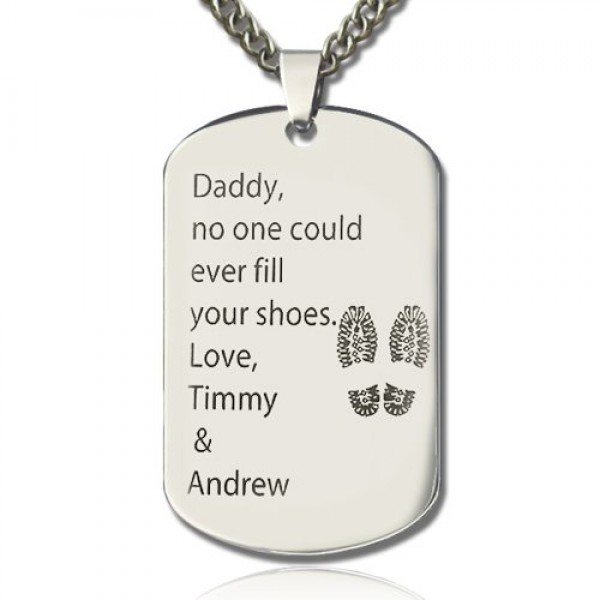 Solid Gold Father' Day Gift Dog Tag Name Necklace