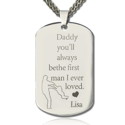 Solid Gold Father's Love Dog Tag Name Necklace