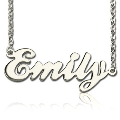 Solid White Gold Custom Cursive Name Necklace