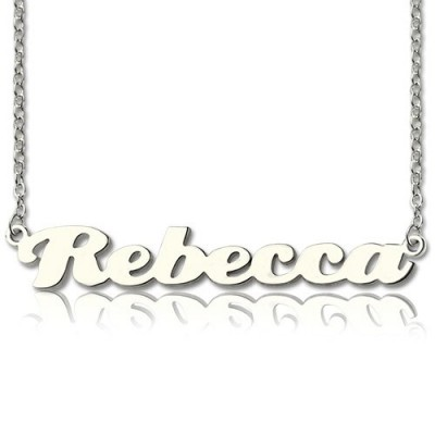 Personalised 18CT White Gold Puff Font Namplate Necklace