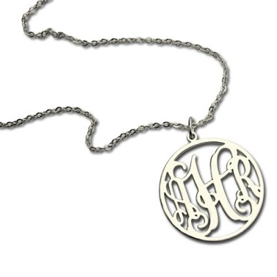 18CT White Gold Circle Monogram Necklace