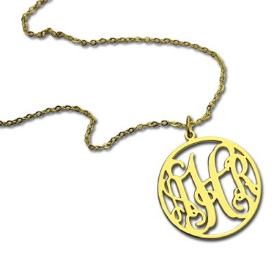 18CT Gold Circle Monogram Necklace
