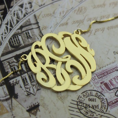 18CT Gold Large Monogram Necklace Hand-painted