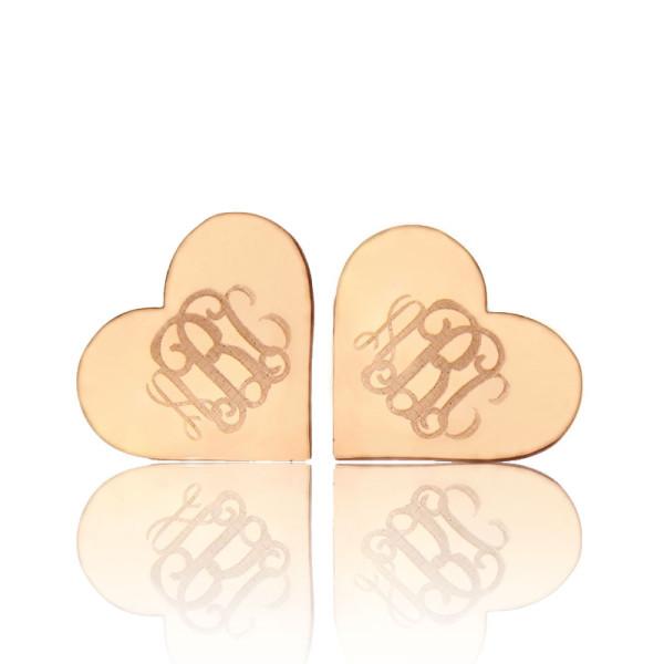 Heart Monogram Earrings Studs Cusotm Solid 18CT Rose Gold