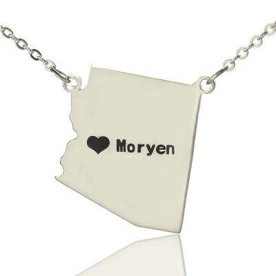 Solid White Gold Custom Arizona State Shaped Name Necklace s