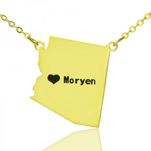 Custom Arizona State Shaped Necklaces - Solid Gold