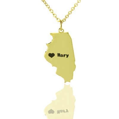 Custom Illinois State Shaped Necklaces - Solid Gold