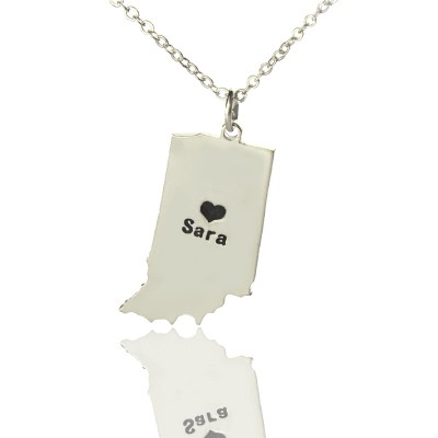 Solid White Gold Custom Indiana State Shaped Name Necklace s