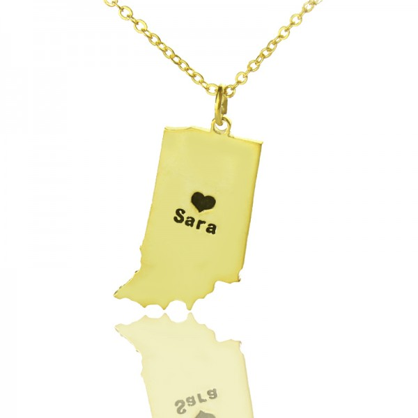 Custom Indiana State Shaped Necklaces - Solid Gold