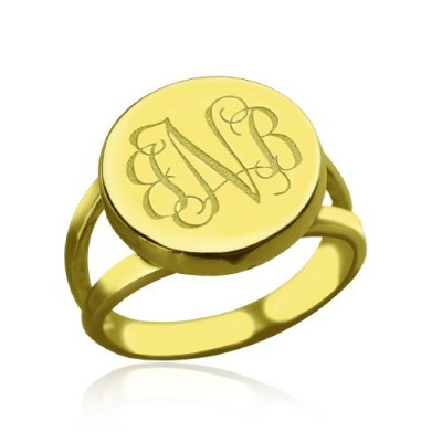 18CT Gold Circle Monogram Signet Ring