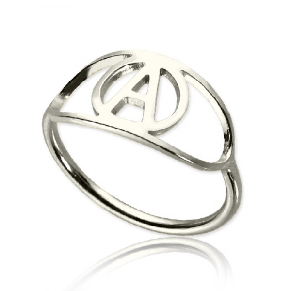 Eye Solid White Gold Rings with Initial