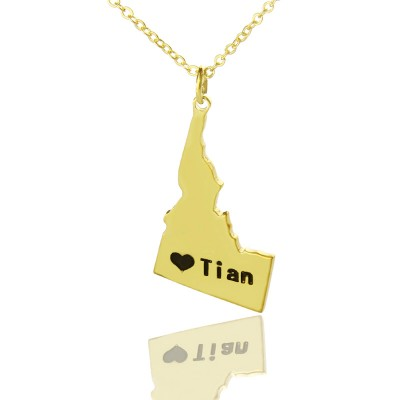 The Idaho State USA Map Necklace - Solid Gold
