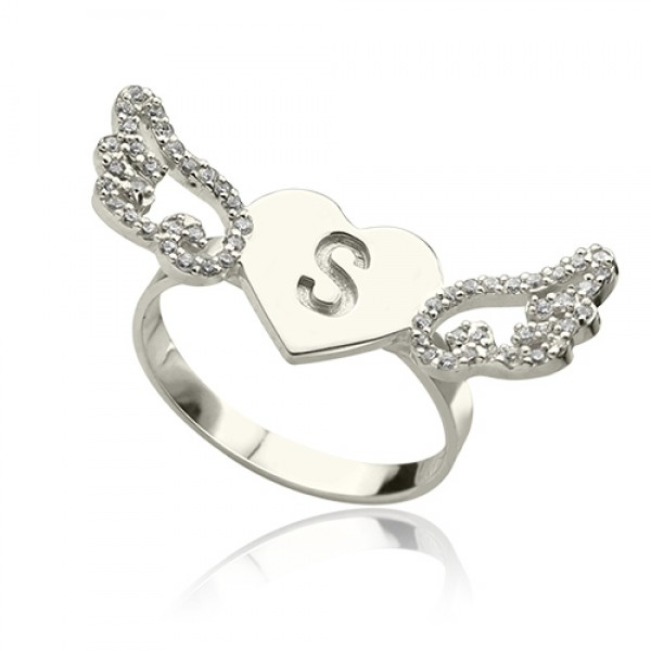 Heart Angel Wings Solid White Gold Ring Engraved Initial Birthstone