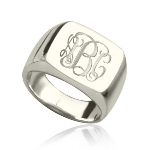Engraved Square Designs Monogram Solid White Gold Ring