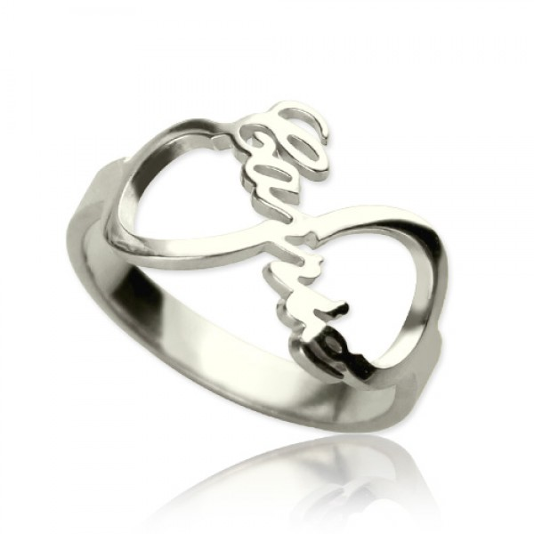 Infinity Nameplate Solid White Gold Ring