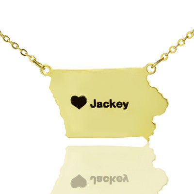 Iowa State USA Map Necklace - Solid Gold