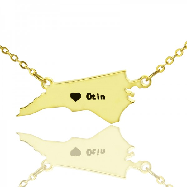 Personalised NC State USA Map Necklace - Solid Gold