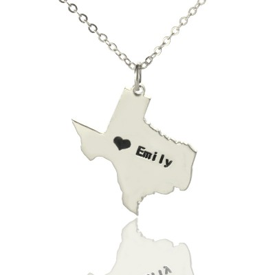 Solid Gold Texas State USA Map Name Necklace