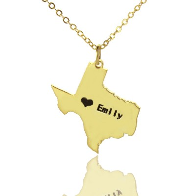Texas State USA Map Necklace - Solid Gold