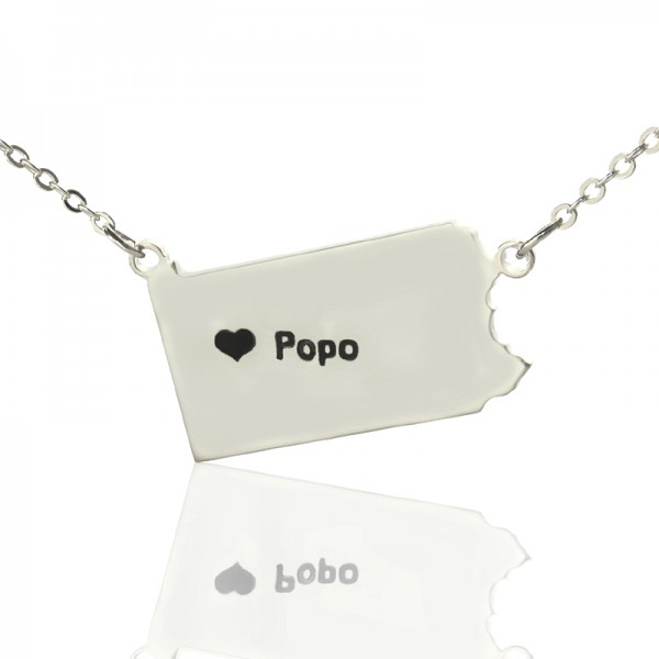 Solid Gold Pennsylvania State USA Map Name Necklace
