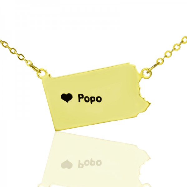 Personalised PA State USA Map Necklace - Solid Gold