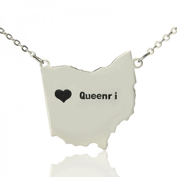 Solid Gold Custom Ohio State USA Map Name Necklace