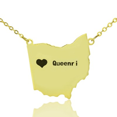Custom Ohio State USA Map Necklace - Solid Gold