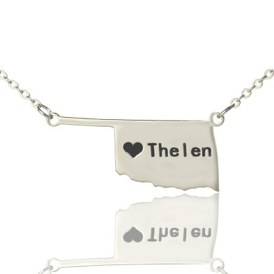 Solid Gold America Oklahoma State USA Map Name Necklace