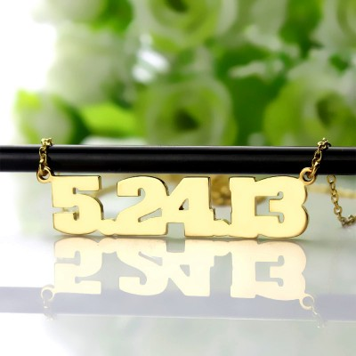 Gold Number Necklace
