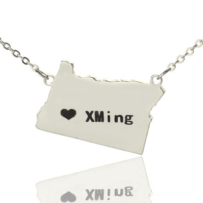 Solid Gold Custom Oregon State USA Map Name Necklace