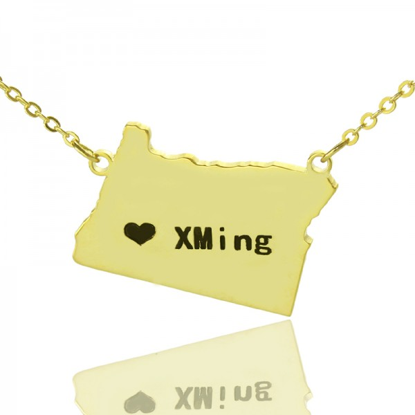 Custom Oregon State USA Map Necklace - Solid Gold