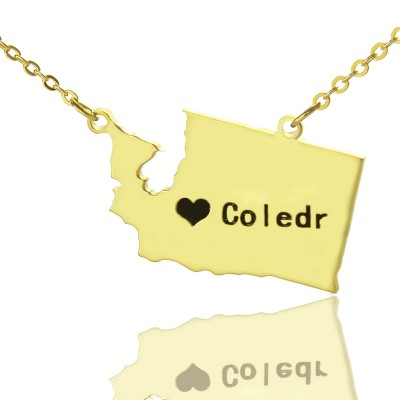 Washington State USA Map Necklace - Solid Gold