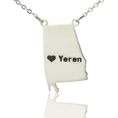 Solid White Gold Custom Alabama State USA Map Name Necklace