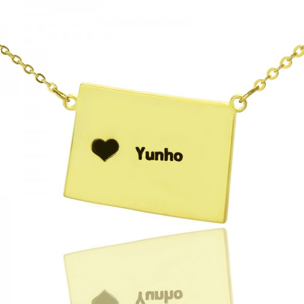 Wyoming State Shaped Map Necklaces - Solid Gold