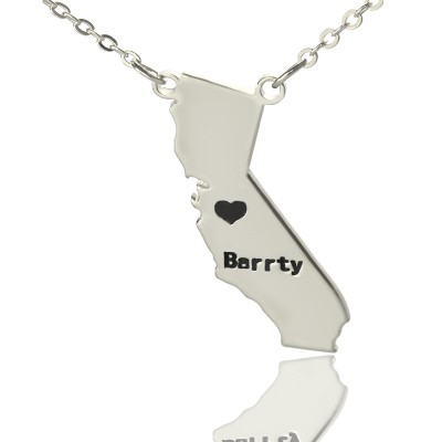 Solid White Gold California State Shaped Name Necklace s