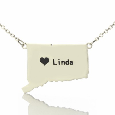 Solid White Gold Connecticut State Shaped Name Necklace s