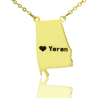 State USA Map Name Necklace Gold
