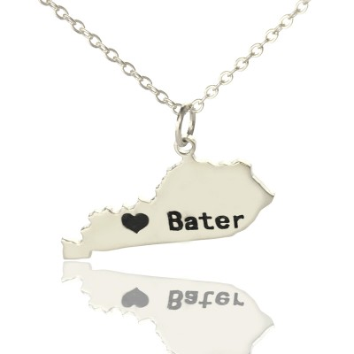 Solid White Gold Custom Kentucky State Shaped Name Necklace s