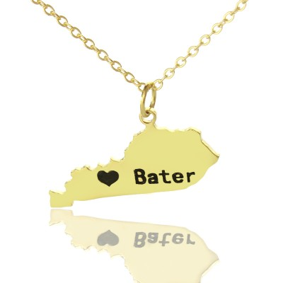 Custom Kentucky State Shaped Necklaces - Solid Gold